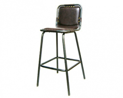 Industrial upholstered bar stool brown vinyl