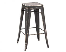 Matte Black Gold Tolix Bar Stool