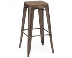 Rusted Finish Tolex Bar Stool Wood Seat