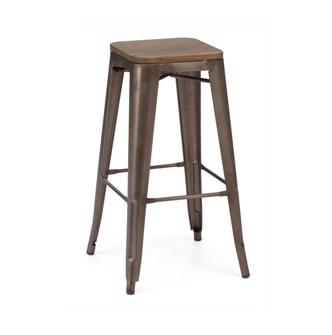 Rusted Finish Tolex Bar Stool Wood Seat