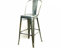 Aged Pewter High Back Bar Stool
