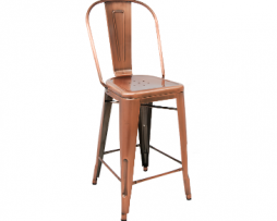 Backyard Copper Finish High Back Tolix Bar Stool