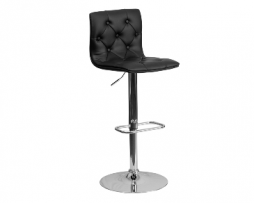 Black Diamond Back Upholstered Chrome Bar Stool
