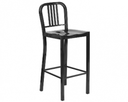 Black Night Industrial Low Back Bar Stool