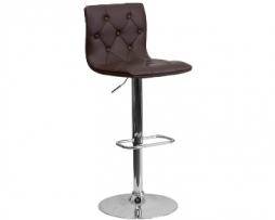 Burgundy Diamond Back Upholstered Chrome Bar Stool