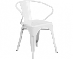 Ghost White Finish Tolix Arm Chair