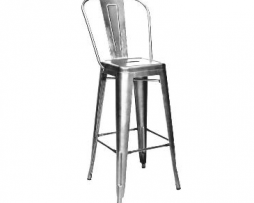 High Back Gun Metal Bar Stool