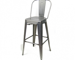 Medium Gun Metal High Back Tolix Bar Stool