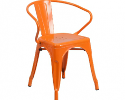 Princeton Orange Finish Tolix Arm Chair