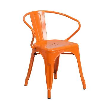 Princeton Orange Finish Tolix Arm Chair