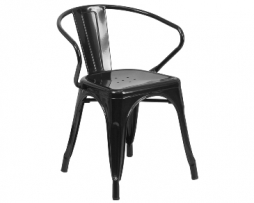 Raven Black Finish Tolix Arm Chair