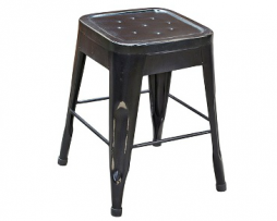 Short Old World Black Finish Antique Tolix Bar Stool