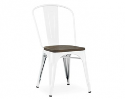 The Hamptons Wood Seat White Tolix Chair