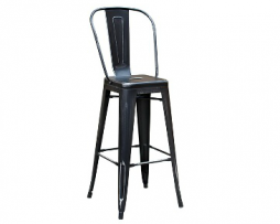Weathered Black High Back Tolix Bar Stool