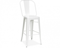 White Vintage High Back Tolix Bar Stool