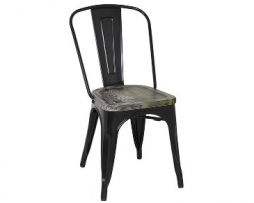 Black Antique Ash Wood Seat Tolix Chair