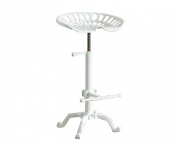 Cotton White Tractor Seat Bar Stool