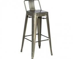 Galvanized Gun Metal Low Back Tolix Bar Stool