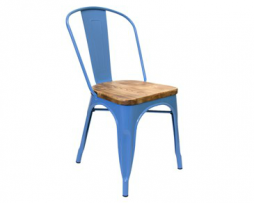Bice Blue Finish Wood Seat Tolix Chair