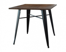 Black Finish Tolix Elm Wood Dining Table 30
