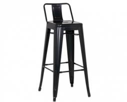 Custom Eerie Black Tolix Bar Stool LOW Back