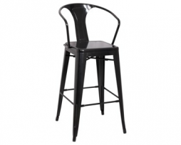 Dark Midnight Black Tolix Bar Stool With Arms