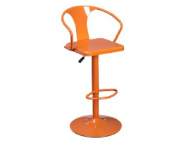 Florida Orange Adjustable Tolix Bar Stool With Arms
