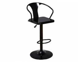 Midnight Black Adjustable Tolix Bar Stool With Arms