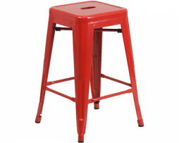 Red Counter Hieght Tolix Bar Stool