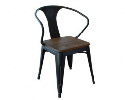 Smokey Black Tolix Arm Chair With Wood Seat