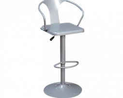 Sonic Silver Adjustable Tolix Bar Stool With Arms
