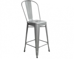 Sonic Silver High Back Counter Height Tolix Stool