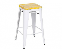 White Tolix Bar Stool With Yellow Weathered Seat