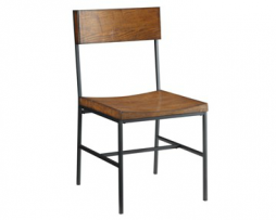 Brantley Rustic Metal Chair With Distressed Chestnut Finish