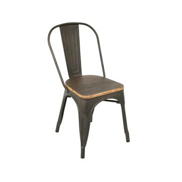 Dark Rusted Finish Wood Seat Tolix Chair