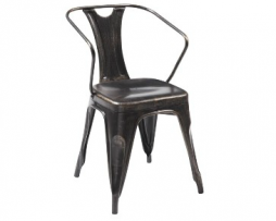 Industrial Brushed Bronze Arm Chair