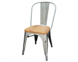 Galvanized Silver Tolix Chair With Natural Wood Seat