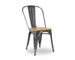 Medium Gun Metal Grey Natural Wood Seat Tolix Chair 3
