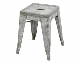 Antique Galvanized Steel Finish Mini Bar Stool 17