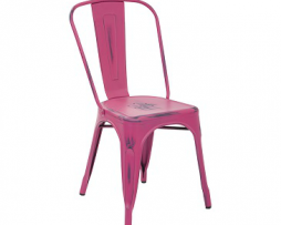 Cyber Pink Weathered Antique Finish Tolix Chair
