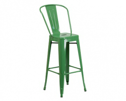 Fern Green Tolix High Back Bar Stool