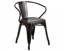 Galvanized Antique Black Copper Tolix Arm Chair In-Outdoor
