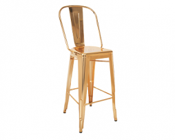Gold High Back Tolix Bar Stool