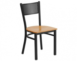 Post Industrial Black Mesh Natural Wood Seat Chair