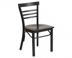 Adelina Black Metal Cafe Chair Dark Wood Seat