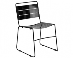 Black Ergonomic Laser Cut Stacking Cafe Chair