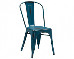 Dark Marine Blue Weathered Tolix Chair