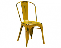 Dark Yellow Weathered Tolix Chair