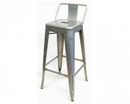 Galvanized Silver Finish Low Back Tolix Bar Stool