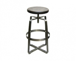 Old Word Adjustable Industrial Bar Stool